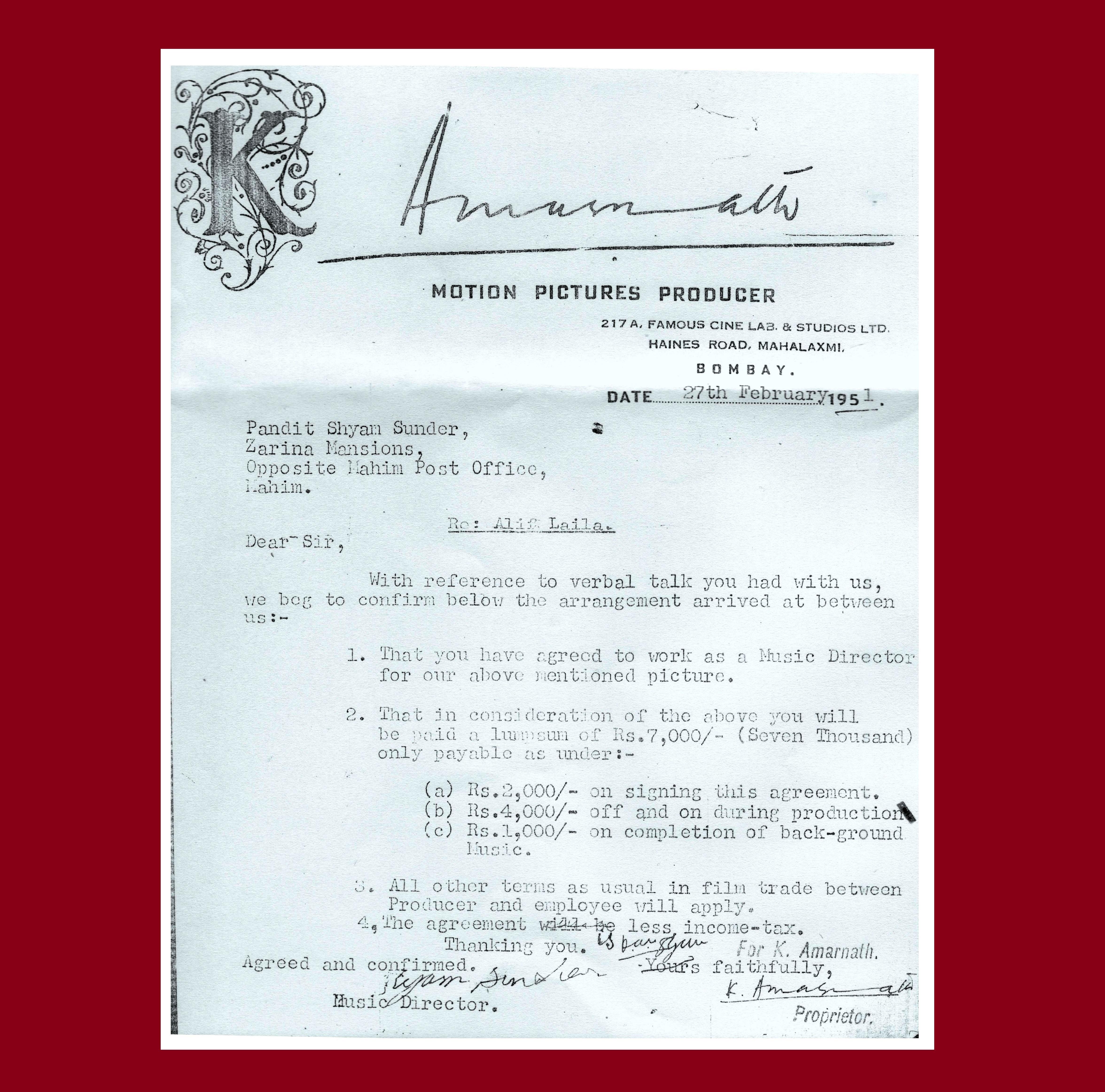 Contract 1951 - Shyam Sundar - Alif-Laila